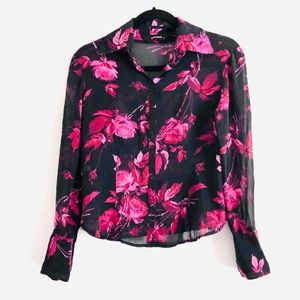 express Silk Sheer Floral Print Button Down Top